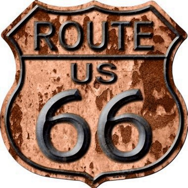 plaque m tal route 66 vintage rusty blason american dreams deco. Black Bedroom Furniture Sets. Home Design Ideas