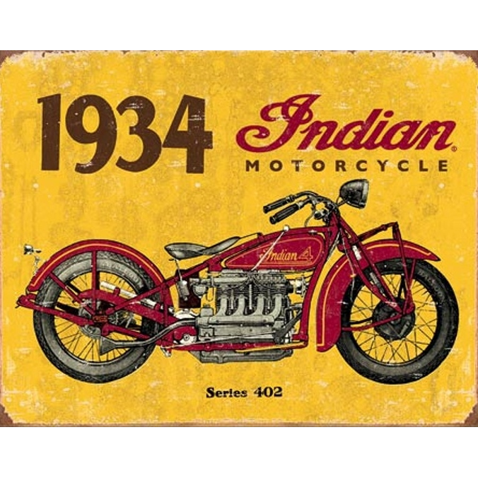 plaque d corative moto indian 1934 vintage biker american dreams deco. Black Bedroom Furniture Sets. Home Design Ideas